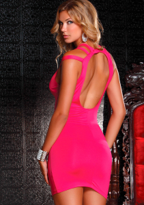 Kоктейльное платье DRESS WITH CUTOUT CHEST PINK L 882673-PINK-L