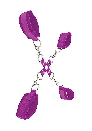 Комплект для бондажа Velcro hand and leg cuffs purple SH-OU052PUR