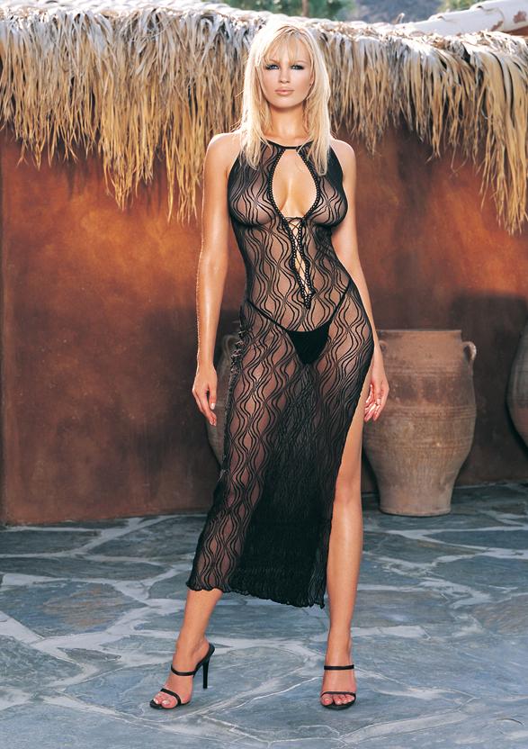 Длинное платье с глубоким вырезом OS LA8536black.