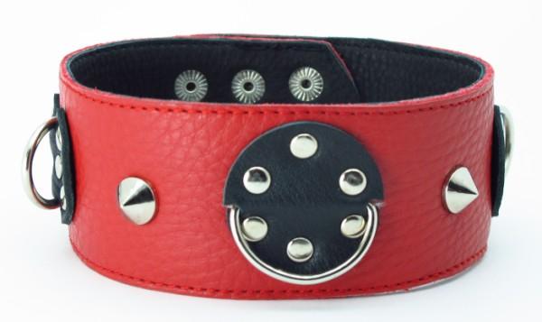 Ошейник красный-черный с шипами 55016ars
