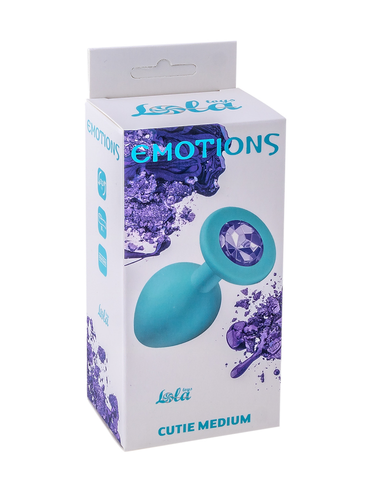 Анальная пробка Emotions Cutie Medium Turquoise light purple crystal 4012-04Lola