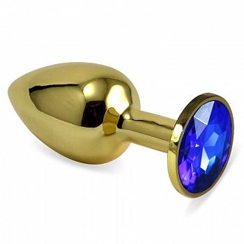 Анальная пробка золото с синим стразом 2,8 х 7,6 S 47004-MM