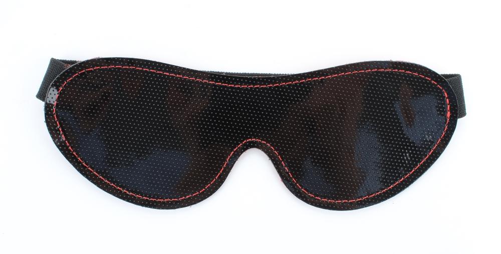Маска из кожи черно-красная с узором 58011ars