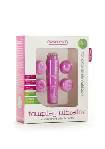 Мини вибратор с насадками Fourplay Pink SH-SHT097PNK