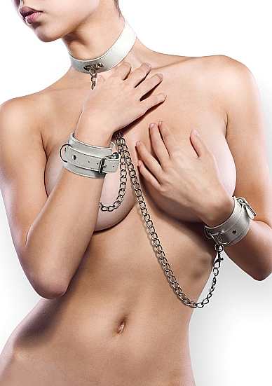 Комплект для бондажа Leather Collar and Handcuffs White SH-OU100WHT