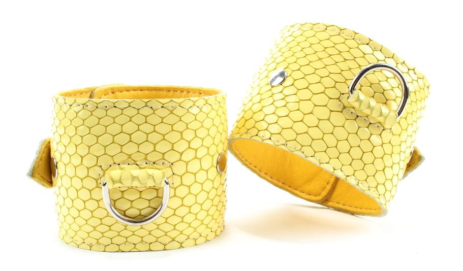 Наручники из кожи Желтый питон 51030ars