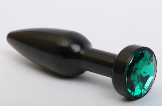 Пробка металл черная с зеленым стразом 11,2х2,9см 47416-6MM
