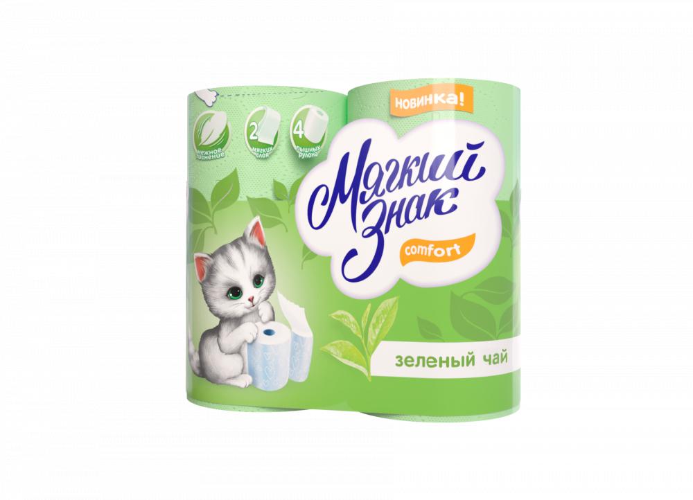"""Туалетная Бумага """"Мягкий Знак """"Delux Aroma"""" Зеленый чай 2 слоя, 4 рулона"""