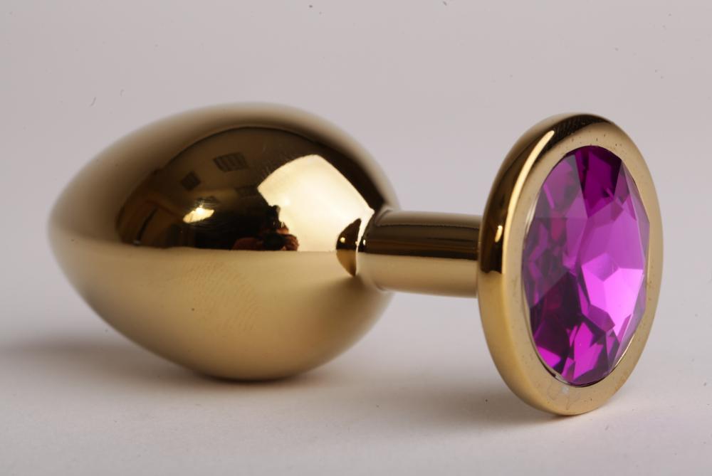Анальная пробка золотая с фиолетовым кристаллом 9,5х4см 47058-2-MM