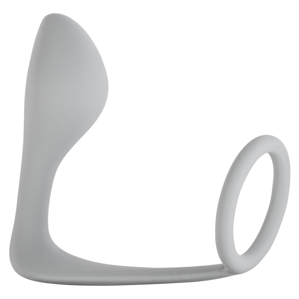 Мужской анальный стимулятор с кольцом на пенис Button Anal Plug Grey 4216-02Lola