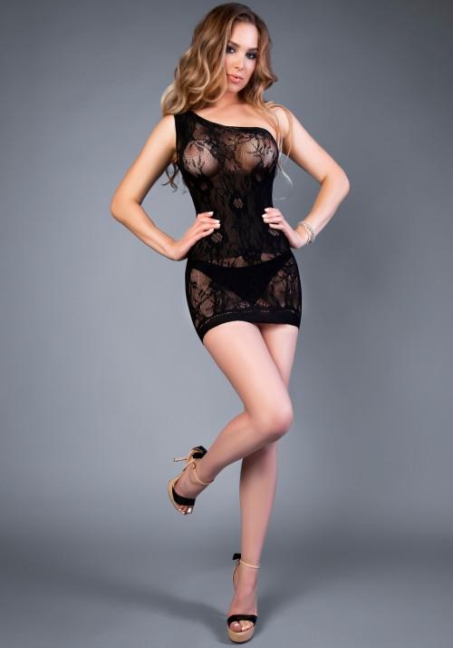 Платье черное на одно плечо Impulse 04522SL