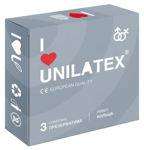 Презервативы Unilatex Ribbed 3 шт 3018Un