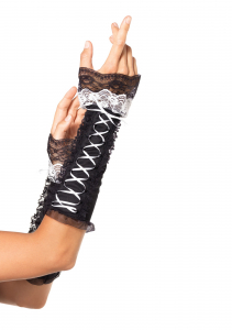 Перчатки Lace Up Opaque Arm Warmer With Lace Ruffle Trim LA2128blackwhite