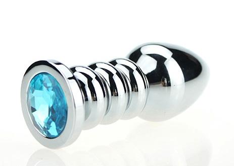 Пробка металл фигурная серебро с голубым стразом 10,3х3,8см 47423-1MM