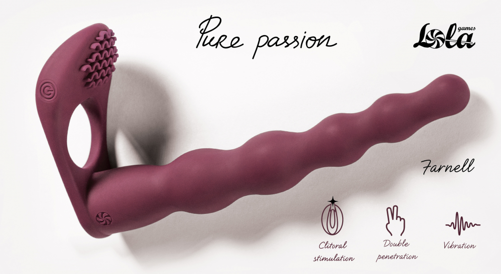 Вибронасадка для Двойного Проникновения Pure Passion Farnell Wine Red 1203-02lola