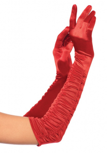 Перчатки Ruched Satin Gloves OS LA2042red