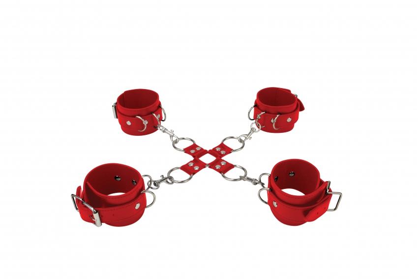 Комплект для бондажа Hand And Legcuffs Red SH-OU050RED