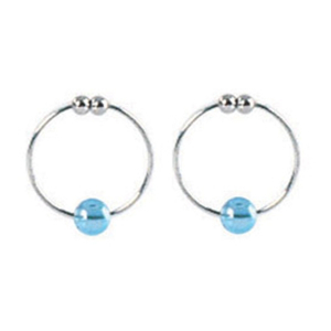 Украшения Silver with Blue Crystal Bead Nipple Rings 2634-05CDSE