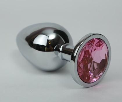 Анальная пробка 3,4х8,2 серебро розовый страз 47021-1MM