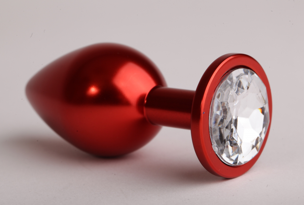 Анальная пробка 8,2 х 3,5см красная с прозрачным стразом 47108-2-MM
