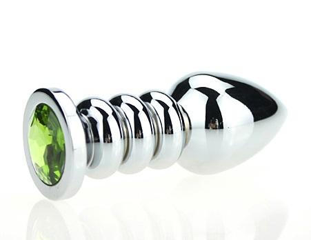 Пробка металл фигурная серебро с зеленым стразом 10,3х3,8см 47423-6MM