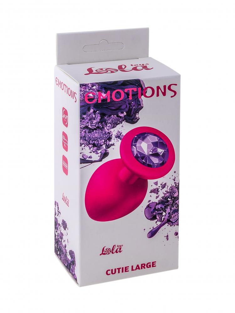 Анальная пробка Emotions Cutie Large Pink dark purple crystal 4013-02Lola