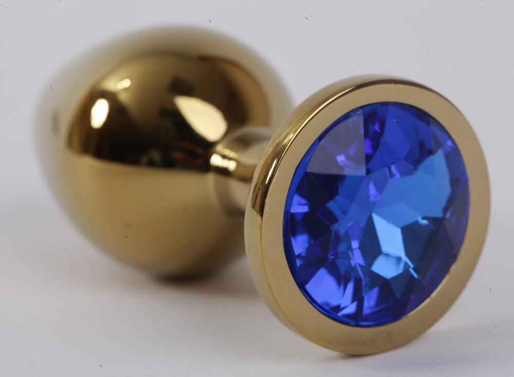 Анальная пробка золото с синим стразом 9,5х4см 47004-2-MM