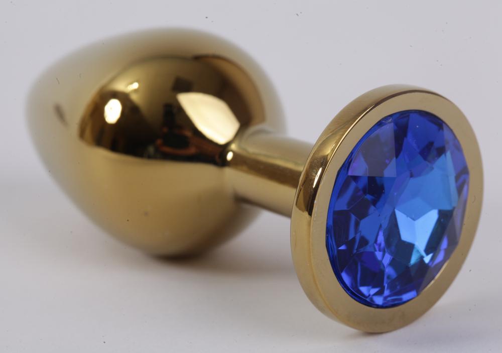 Анальная пробка золото с синим стразом 3,4х8,2 47004-1-MM