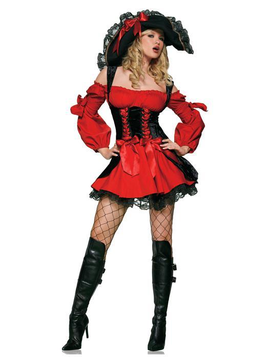 Костюм Средневековая пиратка красный