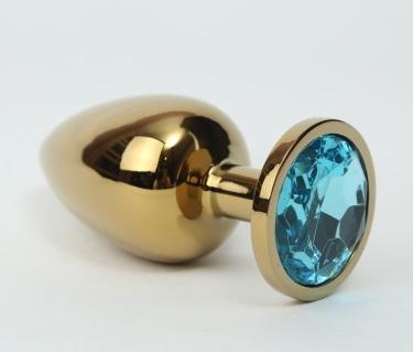 Анальная пробка металл 3,4х8,2 золото голубой страз 47057-1MM